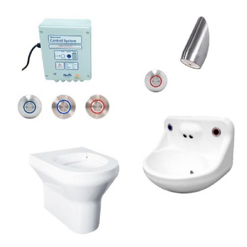 DVS Anti-Ligature High Risk Back-to-Wall Toilet, Basin & Shower Pack - Tactile Switch Controls